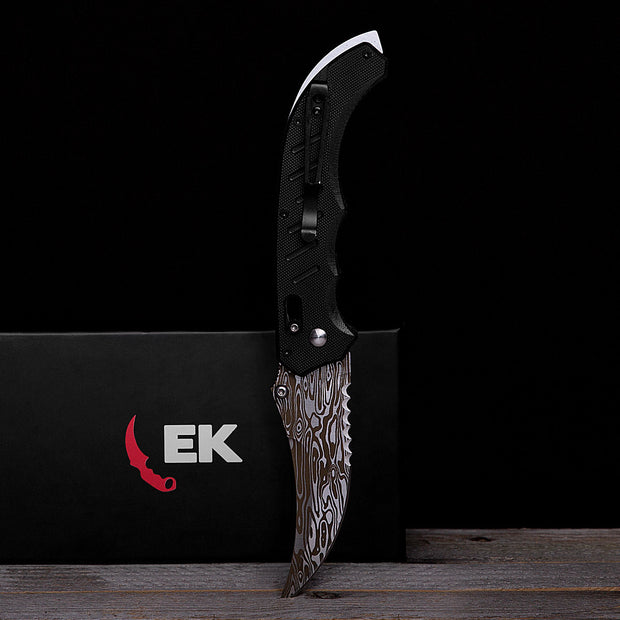 Damascus Steel Flip Knife