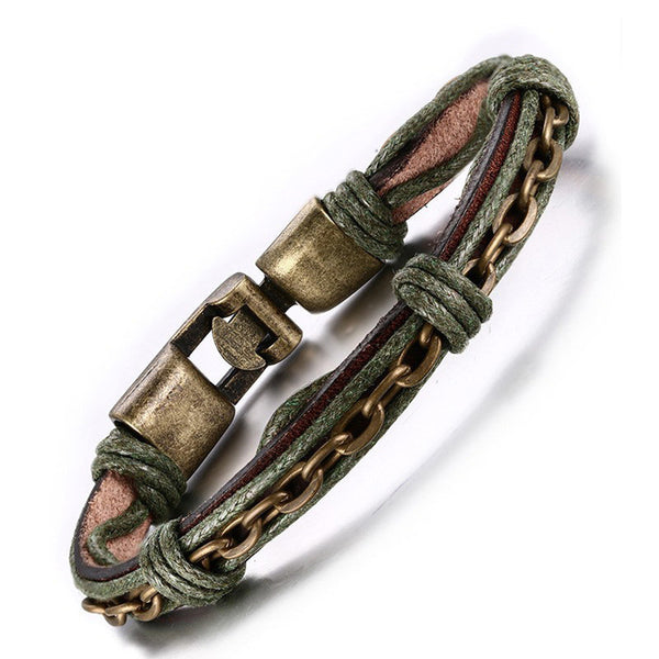Green Leather Bronze Chain Bracelet