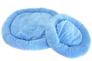 Organic cozy pet bed is filled with organic material and covered in your choice of soft plush fabric.