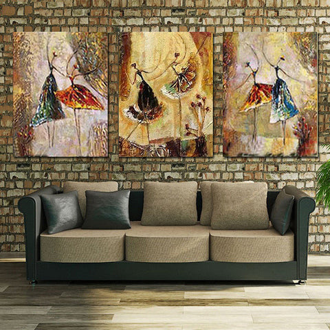 Unframed 3 Panel Handpainted Ballet Dancer Abstract Oil Painting On Canvas