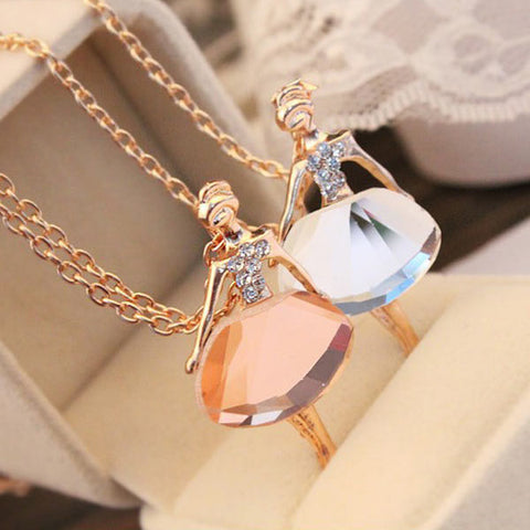 Crystal Ballet Girl Pendant Necklace FREE