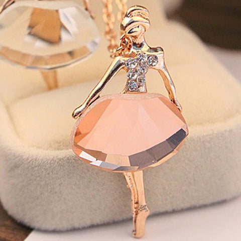 Crystal Ballet Girl Pendant Necklace