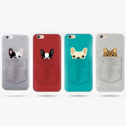 Cute Pocket Cat Dog Back Cover IPhone Case - Promo