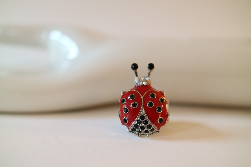 Festive Ladybug Rhinestone Cocktail Ring