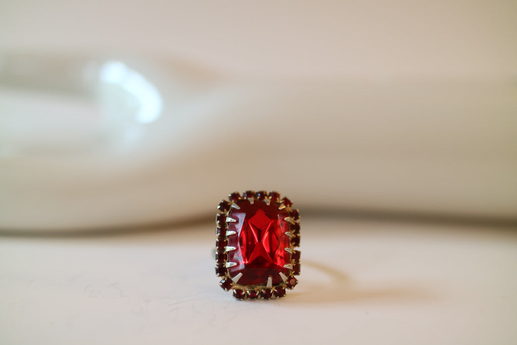 Victorian Holiday Faux Ruby Rhinestone Cocktail Ring