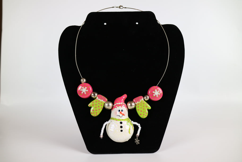 Frosty the Snowman Glitter Necklace