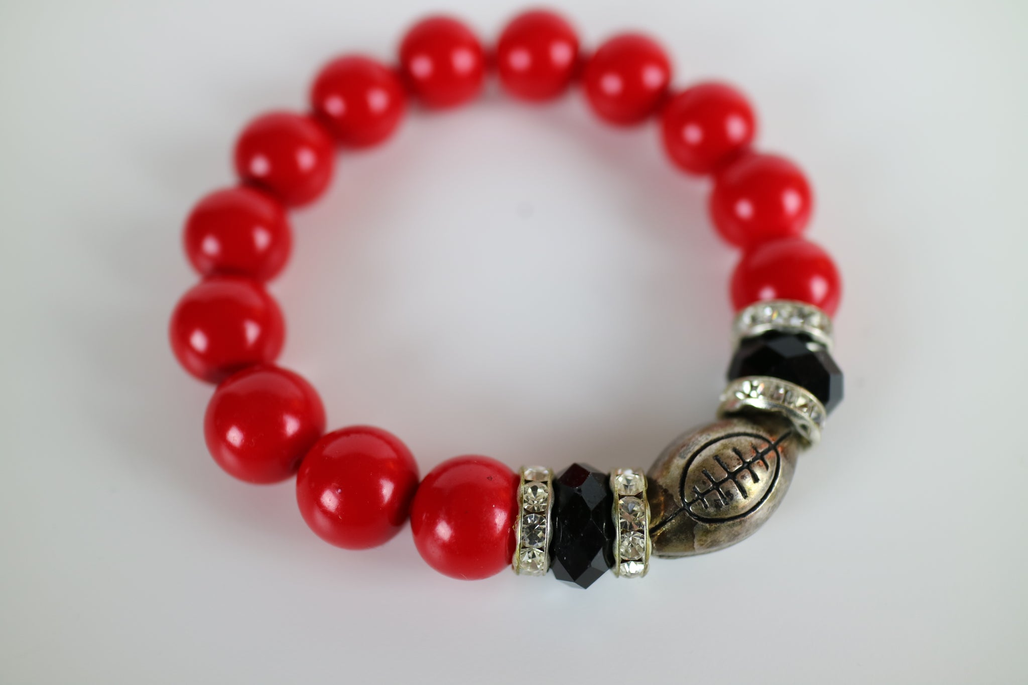 Rudolph's Nose Superbowl Bead Bracelet