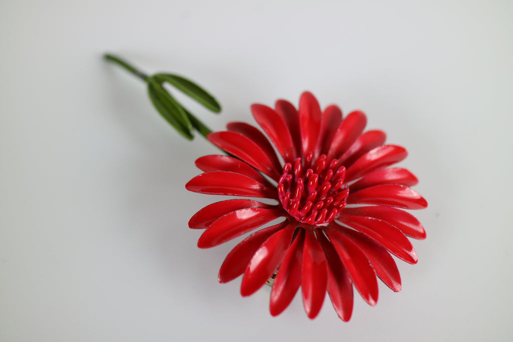 Festive Red Flower Vintage Brooch