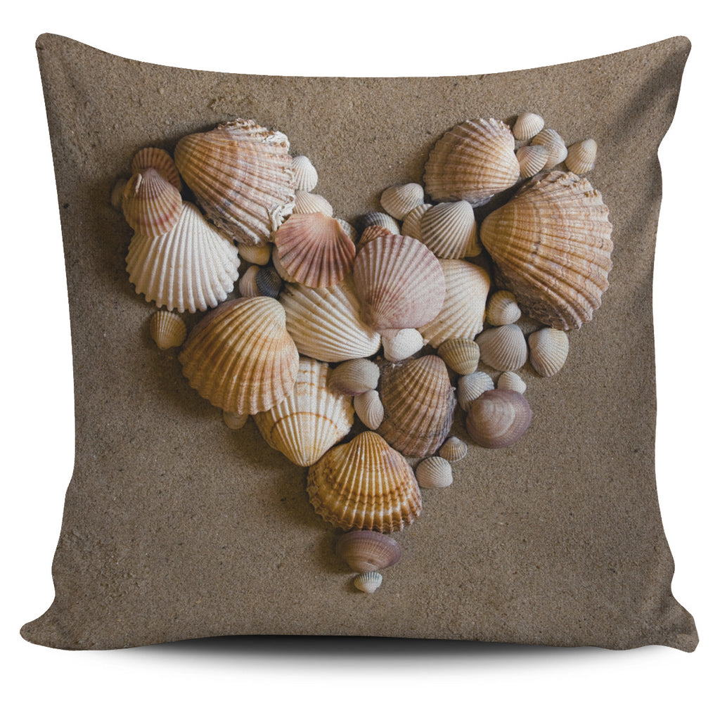 Shell Heart Pillow Cover