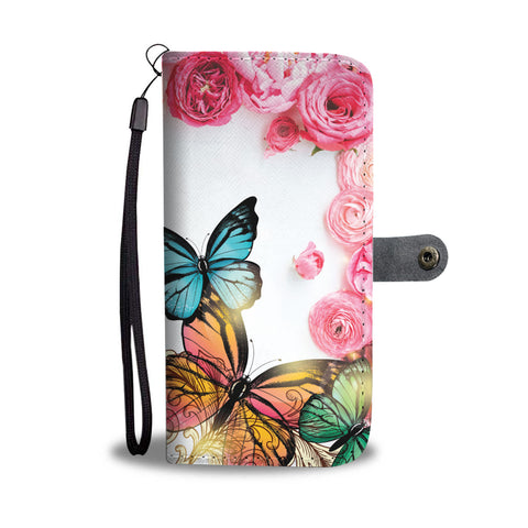 Butterfly Rose Wallet Phone Case - Free Shipping