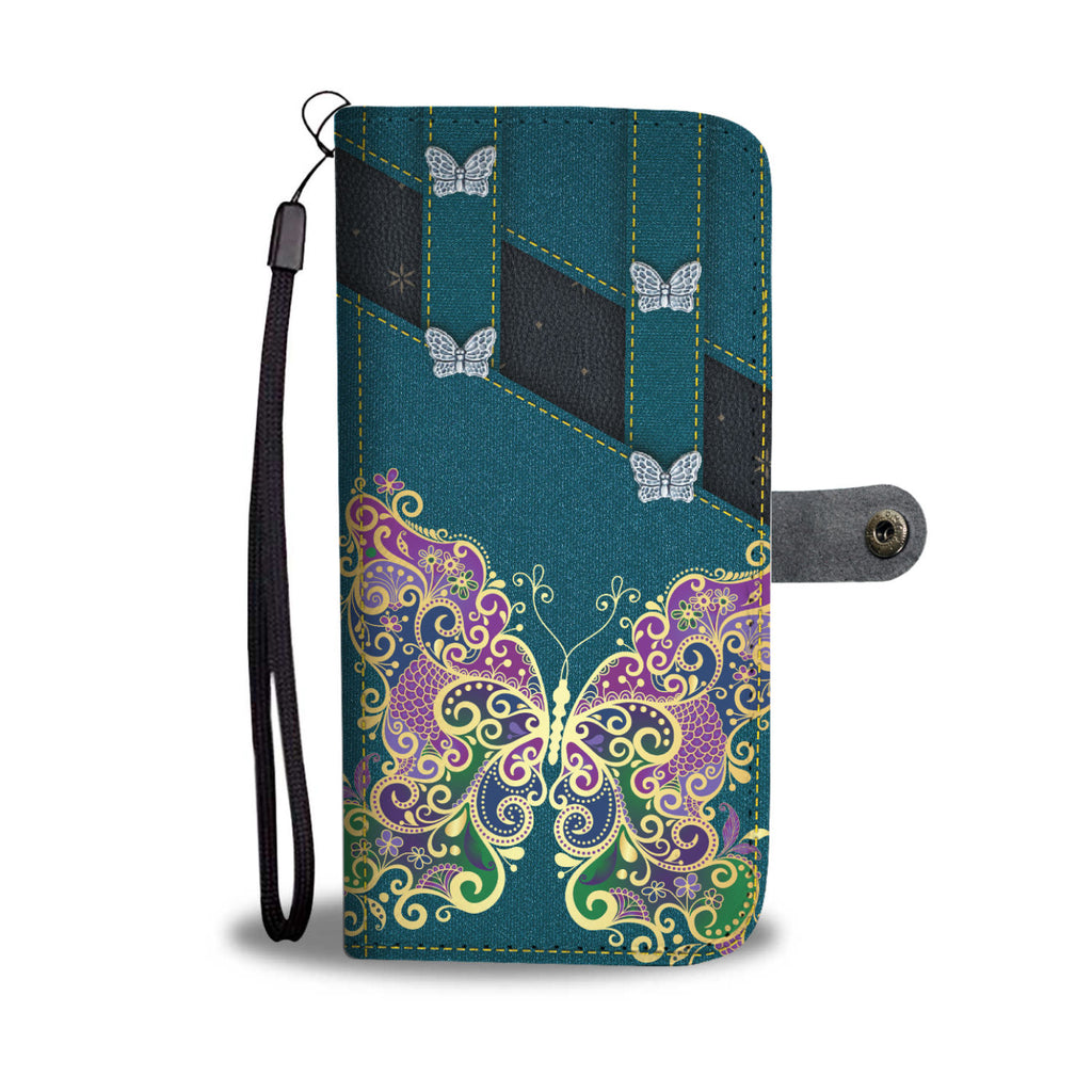 Butterfly Blue Wallet Phone Case - Free Shipping