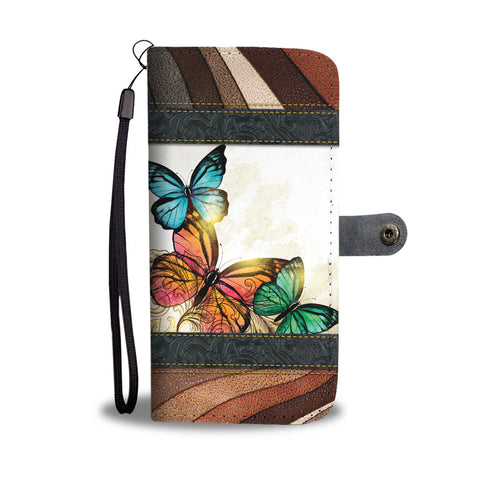 Butterfly Stripe Wallet Phone Case - Free Shipping
