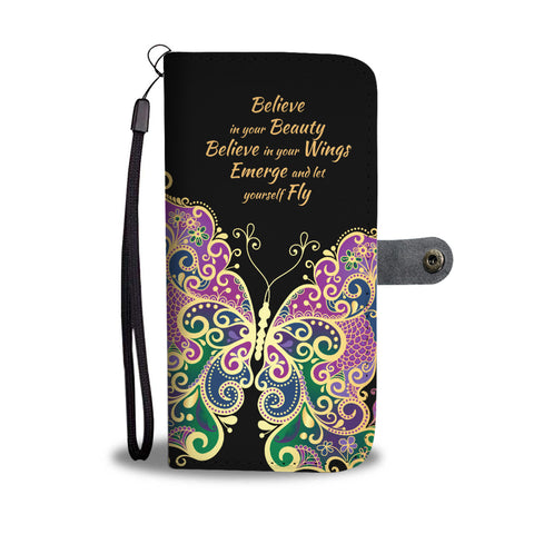 Butterfly Multicolor Wallet Phone Case - Free Shipping