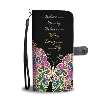 BUTTERFLY MULTI-COLOR WALLET PHONE CASE - FREE SHIPPING