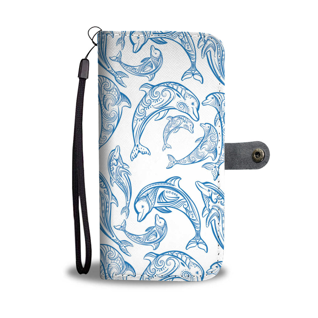 Blue Dolphin Pattern Wallet Phone Case - FREE SHIPPING