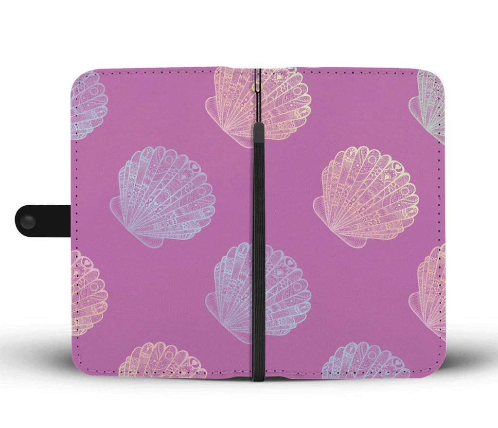 Purple Shell Pattern Wallet Phone Case - FREE SHIPPING