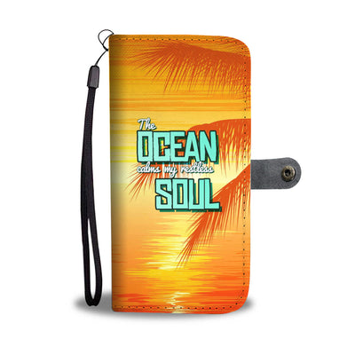 Orange Palms Wallet Phone Case - FREE SHIPPING