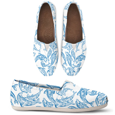 Blue Dolphin Pattern Casual Shoes - FREE SHIPPING