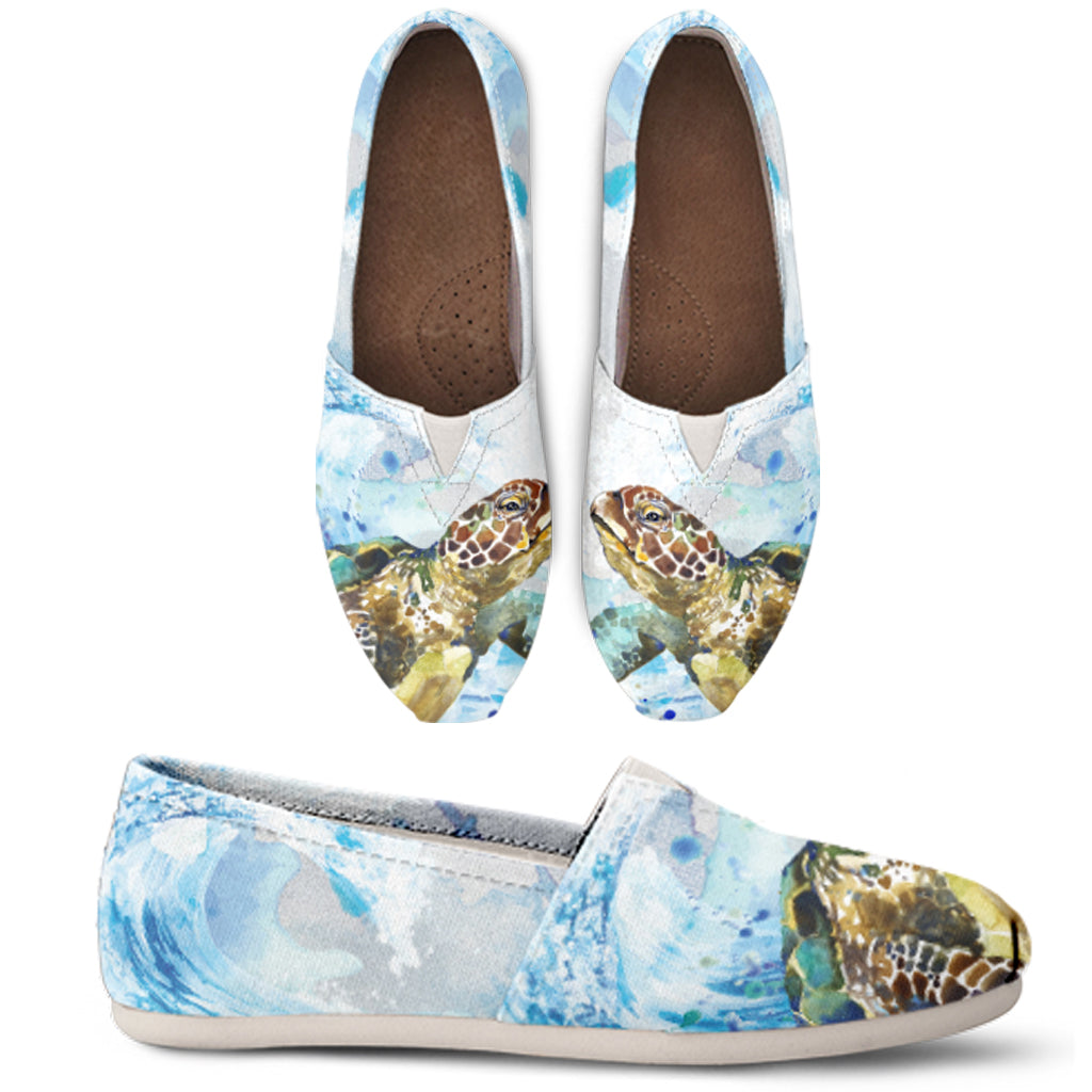 Turtle Watercolor Casual Shoes - FREE SHIPPING