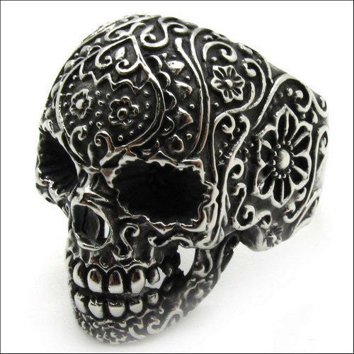 Steel Sugar Skull Ring