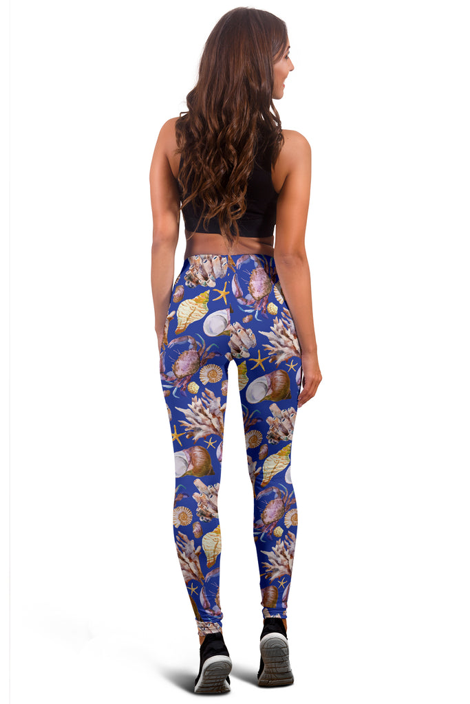 Blue Shells Ocean Leggings - FREE SHIPPING