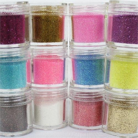 350Buy 12-Color Glitter Powder Dust Nail Art Tips Jumbo Size