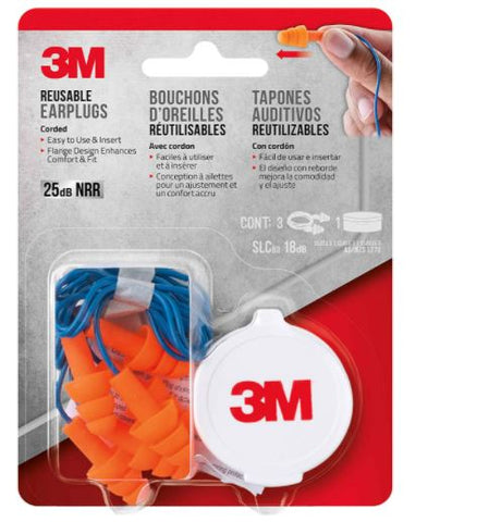 3M 3-Pair 25DB NRR Corded Reusable Washable Earplugs with Case