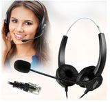 Agptek 4-Pin RJ9 Hands-Free Call Center Binaural Headset Telephone