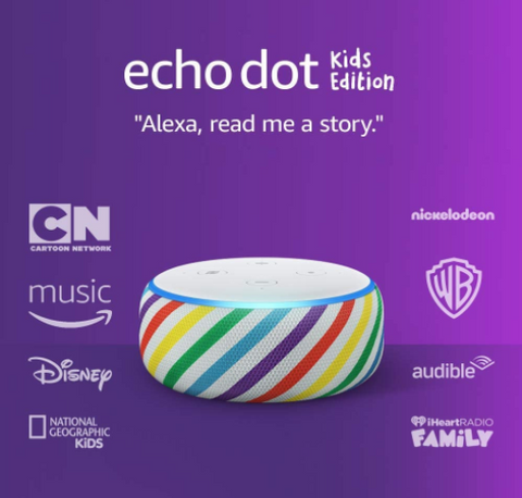 Amazon Echo Dot Kids Edition 3rd Gen for Kids with Parental Controls Rainbow