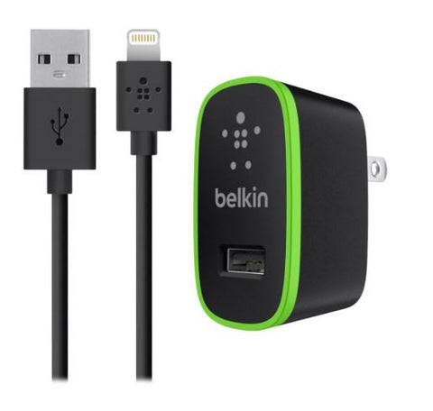 Belkin F8J052TT04 iPhone Lightning 4-FT Cable Wall Charger 2.1 Amp Black