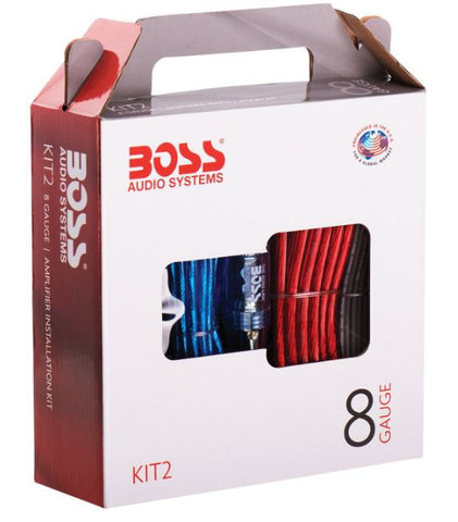 Boss Audio KIT2 8 Gauge Amplifier Speaker Installation RCA Wire Kit