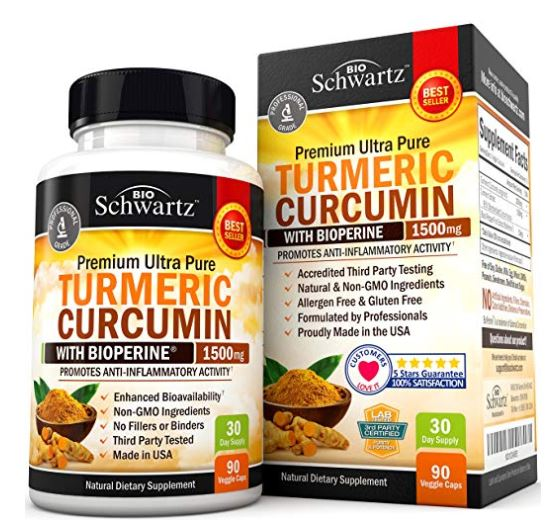 BioSchwartz Turmeric Curcumin Bioperine Pain Relief & Joint Support 1500 mg 90 Caps
