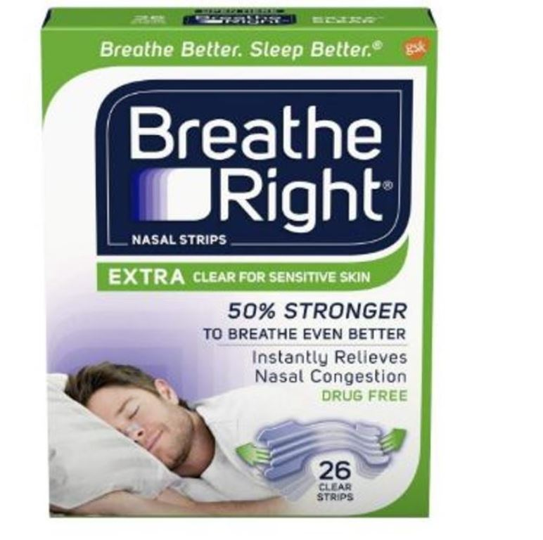 Breathe Right 26-PC Extra Clear Nasal Strips for Sensitive Skin Relieve Nose Congestion & Reduce Snoring Green