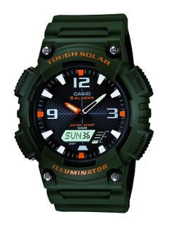 Casio Men's Solar Sport Watch with Green Band AQS810W