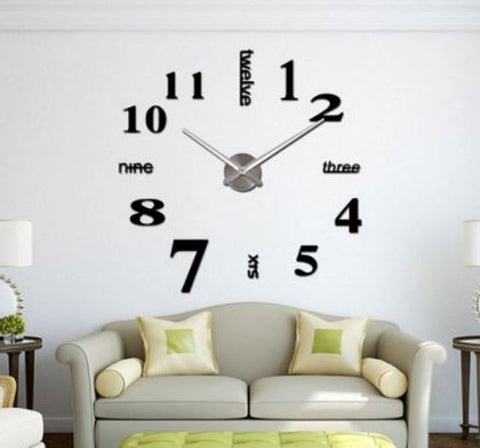 CoZroom Large Black 3D Frameless DIY Wall Clock Stickers Décor