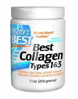 Collagen Powder Doctor's Best Types 1 and 3, Anti-aging 200 Grams