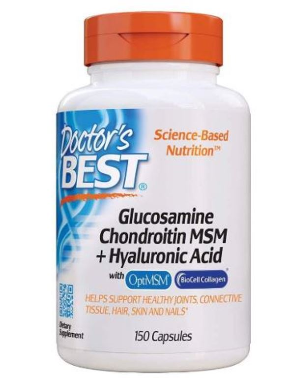 Doctor's Best Glucosamine Chondroitin MSM + Hyaluronic Acid with Optimsm Biocell Collagen 150 Caps