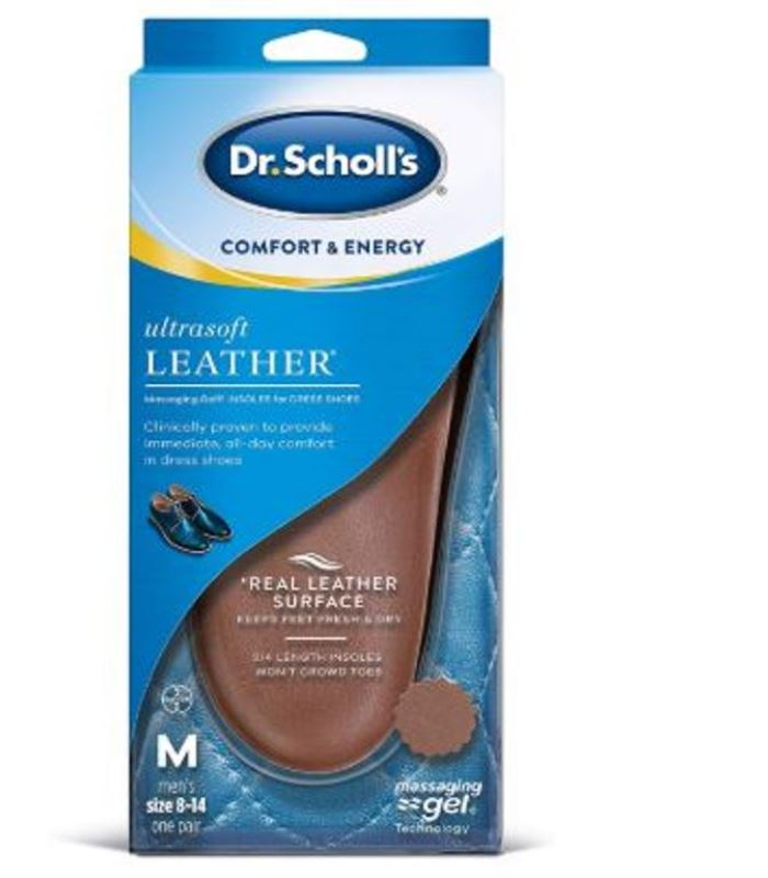 Dr. Scholl's Ultrasoft Leather Insoles with Foot Feet Massaging Gel for Dress Shoes Men Size 8-14