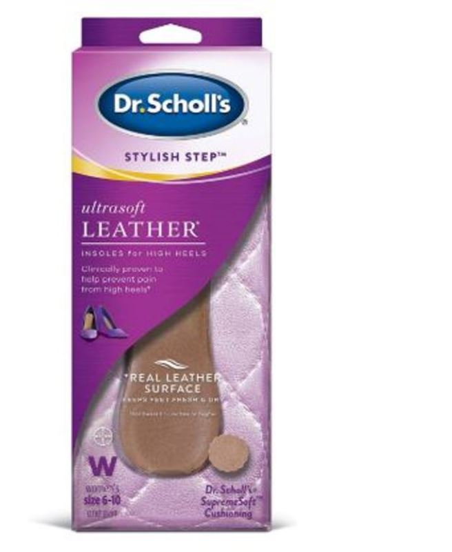 Dr. Scholl's Ultrasoft Leather Insoles with Foot Feet Massaging Gel for High Heels Women Size 6 -10