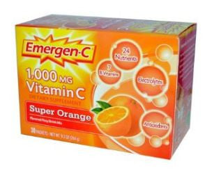 Emergen-C Vitamin C 1,000mg, Super Orange Flavor, 30 Packets