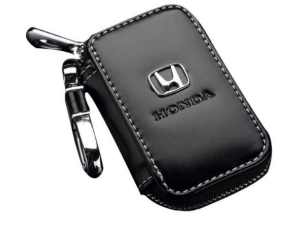 Honda Black Leather Car Key Chain Coin Holder Keychain Wallet Bag