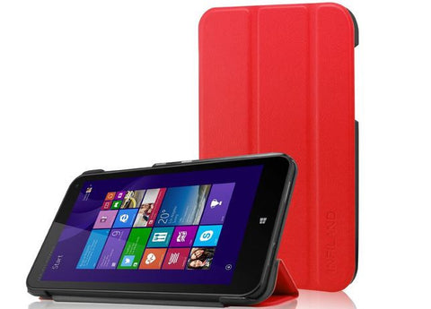 Infiland Tri-Fold Leather Case for HP Stream 8 Tablet Red