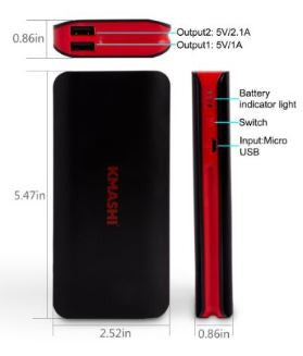 Kmashi 10000 mAh Power Bank