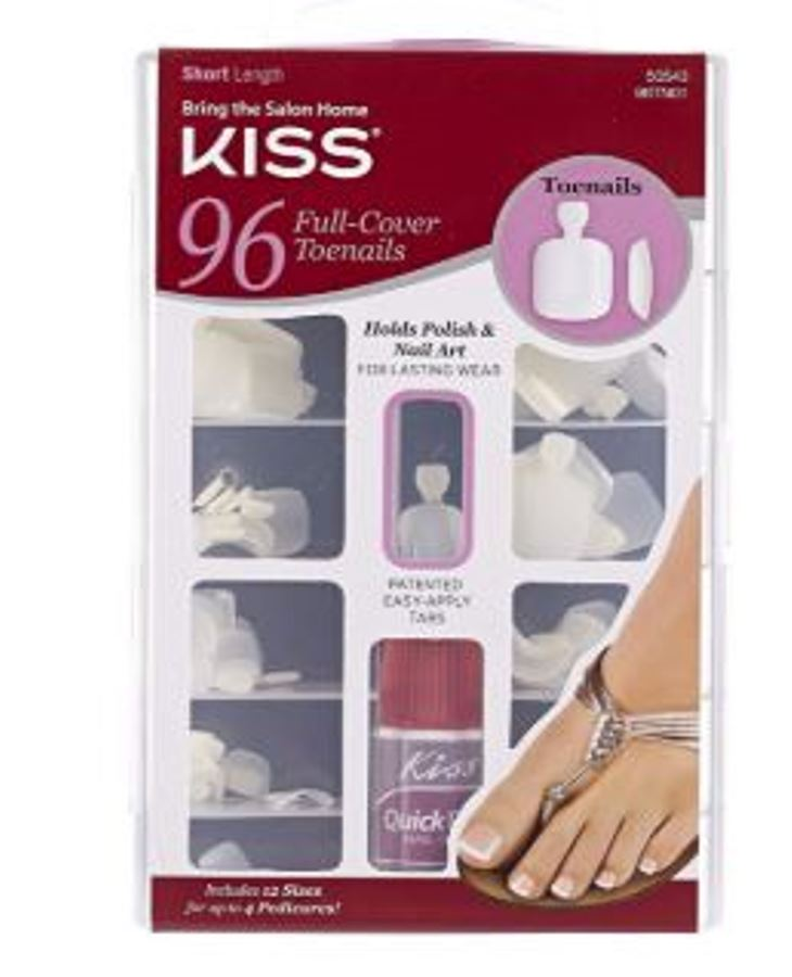 Kiss USA 96-PC Artificial Fake false Full Cover Toenails Set