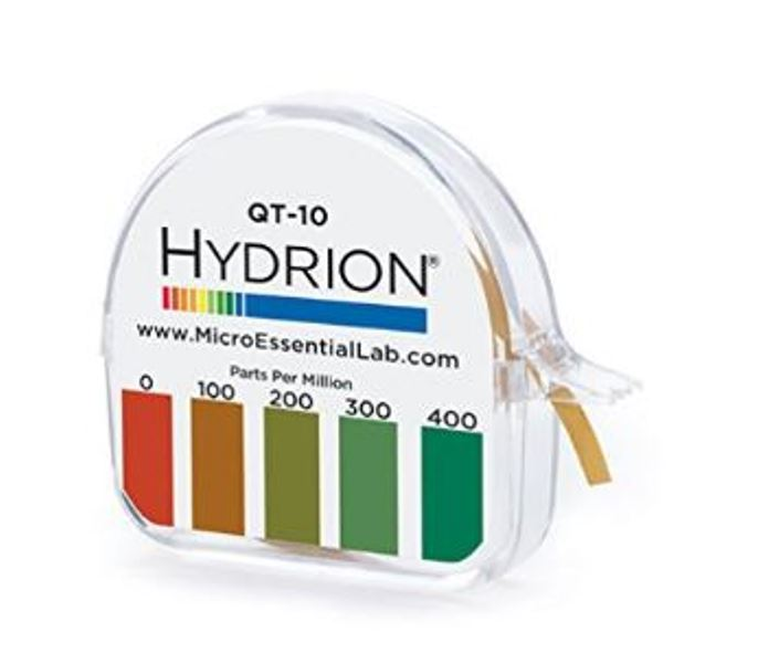 Hydrion QT-10 0-400ppm Quat Check Test Strips Paper Dispenser