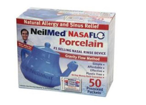 NeilMed Nasaflo Natural Sinus Relief Neti Pot with 50 Premixed Packets
