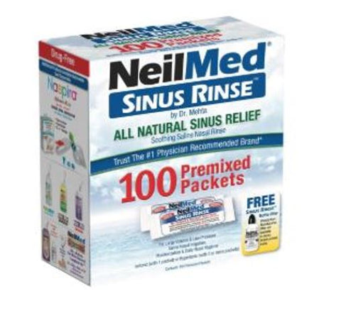 NeilMed Sinus Rinse All Natural Sinus Relief Refill 100 Premixed Packets