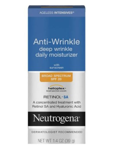 Neutrogena Ageless Intensives Anti-Wrinkle SPF 20 Face Facial Moisturizer Day Cream 1.4 Oz 39 G