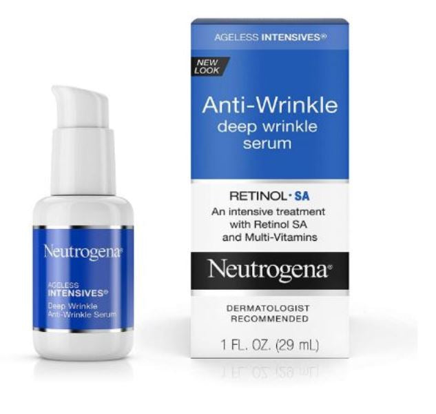 Neutrogena Ageless Intensives Anti Wrinkle Face Facial Moisturizer Serum with Retinol 1 fl. Oz 29 ML