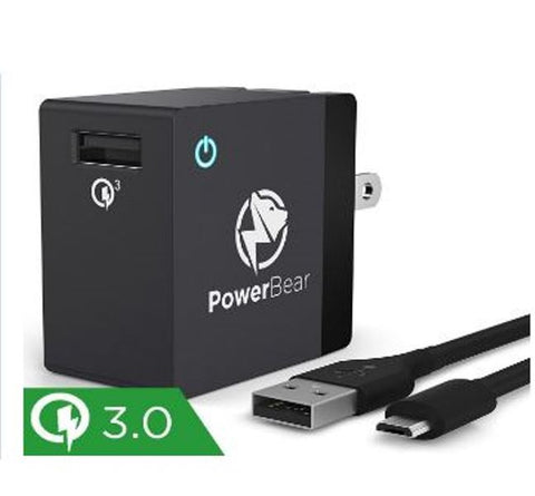 PowerBear 18W Qualcomm 3.0 USB Quick Fast Wall Charger With Cable